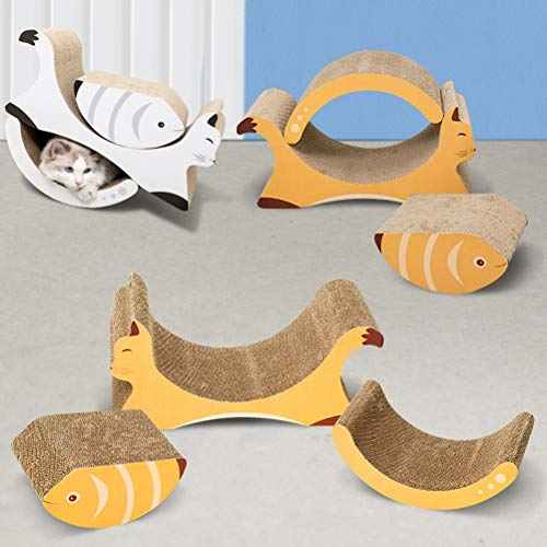 MC.PIG Cat Scratcher Karton-Cat Scratch Board Nest Claw Grinder Gegolfd papier Stapel slijtvast Krasbestendig Cat Claw Board Cat driedelige set Hi Toy Supplies (Color : Yellow)