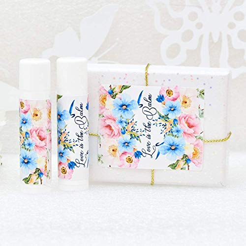 30 Pink and Blue Floral Wedding Labels, Rustic Lip Balm Party Favor Stickers