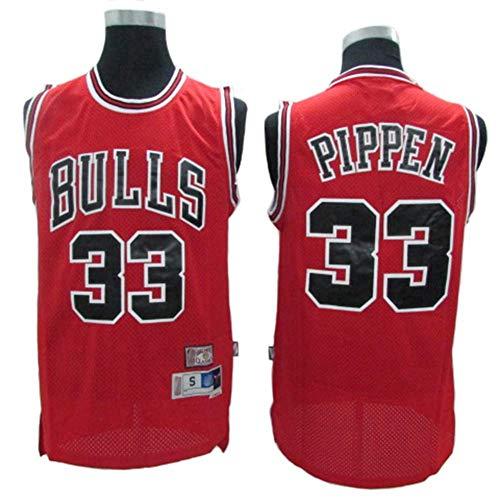Haoshangzh55 Pallacanestro Sport da Uomo - NBA Chicago Bulls # 33 Scottie Pippen, Retro Jersey Mesh Respirabile Freddo di Pallacanestro Canotta,Rosso,XL(180~185CM)