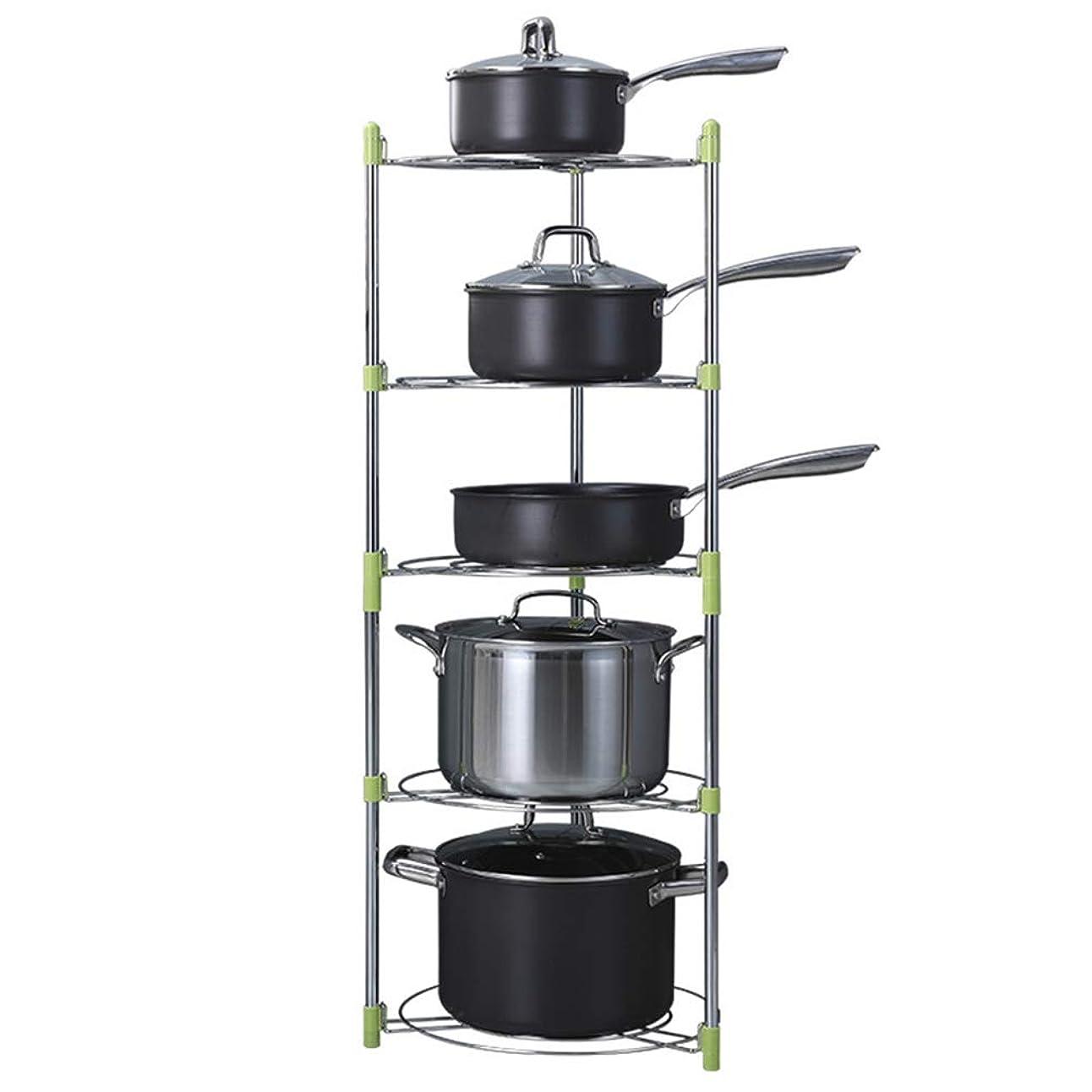 刺します放射性おキッチンラック、フライパンホルダー、鍋とフライパンホルダー、フライパン収納ボックス、キッチン家具フィッティング、ステンレススチール(5層)