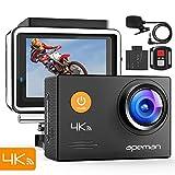 Apeman Caméra d'action 4 K 20 Mpx avec Microphone Externe étanche 40 m avec télécommande EIS stabilisation caméra...