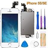 FLYLINKTECH Pantalla para iPhone 5s / se,Táctil LCD de Repuesto Ensamblaje de Marco Digitalizador con botón de Inicio,cámara Frontal,Sensor de proximidad,Altavoz y Herramientas (Blanco)
