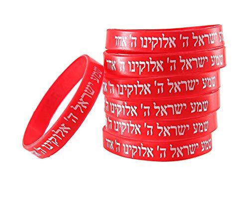 7 Bracelets ROUGE CHEMA ISRAËL – Kabbale juive hébraïque bandes caoutchouc