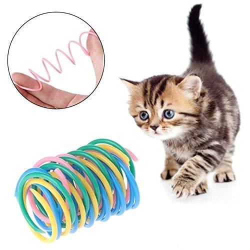 Muelle multicolor para mascotas, juguete para gatos, juguete para mascotas, muelle de plástico, juguete para mascotas, muelle de plástico, no se oxida, se divierte, puede jugar con mascotas