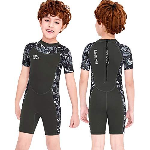 ZMMYD Trajes de Buceo de Neopreno de 2,5 mm para niños Traje de baño de Neopreno para niños Mantener Caliente,Short Gray,XL