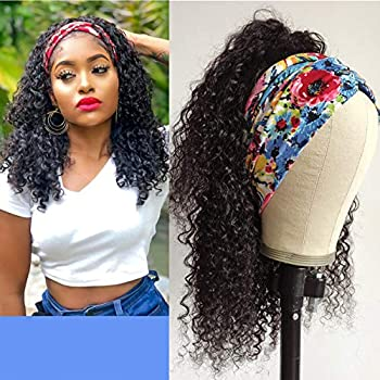 WENYU Headband Wigs For Black Women Human Hair Curly Headband Wig Human Hair Curly None Lace Front Wigs Machine Made Wigs Briazilian Virgin Hair Wigs Glueless Natural Black  14 Inch Headband Wig Curly