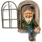 Gartenzwerg Statue Ornamente, Zwerg Aus Dem Fenster Baumdeko Gartendeko Elfe aus der Tür Baumumarmer Polyresin Ornamente Kunsthandwerk für Weihnachten Innen- und Außenbereich