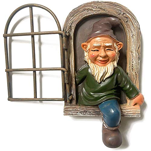 Mini Statuetta da Giardino in Resina Elfo Fuori La Porta Albero Hugger Garden Gnomo Statua Decorazione per Interni e Regalo Ornamenti da Giardino, Sculture, Gnomo