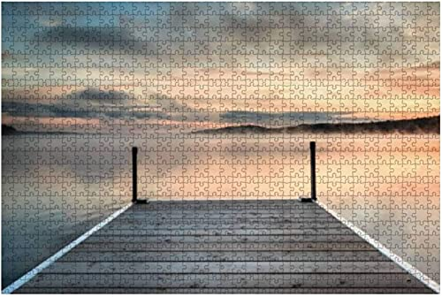 1000 piezas-muelle en un lago tranquilo y brumoso al atardecer Rompecabezas de madera DIY Niños Rompecabezas educativos Regalo de descompresión para adultos Juegos creativos Juguetes Rompecabezas