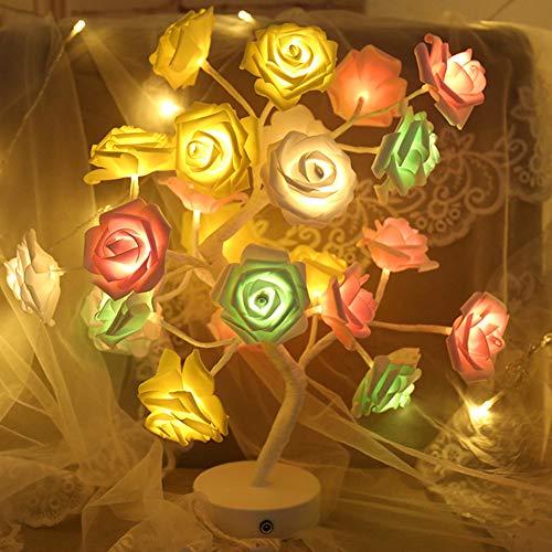 Ledlamp, roze, bureaulamp, bloem, roze, met USB, oplaadbaar, verlichting voor het leven meisjes, rug, bruiloft, Kerstmis, slaapkamer, party, woondecoratie