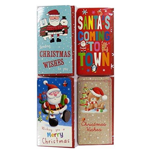 Portefeuilles d'argent de Noël, Bon Portefeuille avec des Enveloppes, Paquet de 4, Design Coloré Mignon