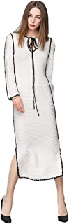 Women Slim Long Sleeve Maxi Knit Lace-up Knitted Dress Fashionable Long Skirt