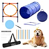 YON.SOU. Dog Agility Training Equipment, Obstacle Course Training, (with Dog Agility rods Jump& Hoops, Agility Tunnel Frisbee Training Whistle, Carrying Bag) (Dog Obstacle Tunnel New)