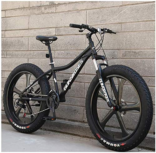 Kunze 26 Inch Mountain Bikes, High-Carbon Steel Hardtail Mountain Bike, Fat Tire All Terrain Mountain Bike, Women Men's Anti-Slip Bikes (Color : Black, Size : 27 Speed 5 Spoke)