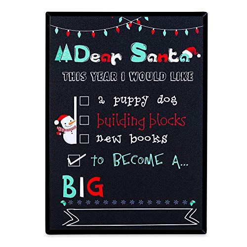 WaaHome Dear Santa Pregnancy Announcement Chalkboard Style Sign Christmas Kids...