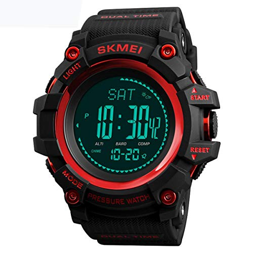 SKMEI 1358 3ATM Waterproof Smart Watch Outdoor Climbing Smart Bracelet Red