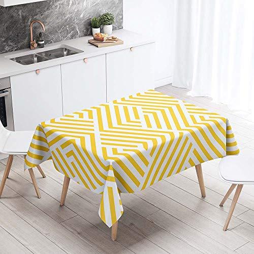 Mantel para Mesa Impermeable Antimanchas, Chickwin Patrón Geométrico de Celosía Cocina Comedor Rectangular Resistente al Desgaste Lavable Mantel de Poliéster (Rayas amarillas,140x180cm)