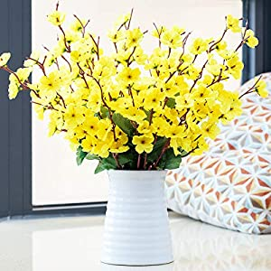 Artificial Cherry Blossom and Ceramic vases, Fake Plum Blossoms Silk Flowers and Artificial Bouquets, Table Decoration Flowers, Suitable for Banquet Home Office Decoration (Yellow)