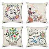 Artscope Set of 4 Spring Pink Flowers Throw Pillow Covers, Cotton Linen Decorative Square Cushion Covers for Couch Outdoor Bench Patio Garden Farmhouse Decor, 18x18 Inch- Butterfly