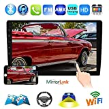 Podofo 10.1' Double Din Car Stereo GPS Android 8.1 Car Radio in Dash Touch Screen Navigation Head Unit Support Bluetooth/WiFi/USB/AM/FM Radio/Mirror Link/Subwoofer with Backup Camera