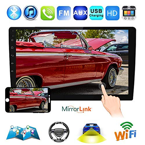 """Podofo 10.1"""" Double Din Car Stereo GPS Android 8.1 Car Radio in Dash Touch Screen Navigation Head Unit Support Bluetooth/WiFi/USB/AM/FM Radio/Mirror Link/Subwoofer with Backup Camera"""
