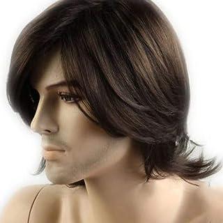شعر مستعار للرجال، 80% طبيعي، لون بني داكن