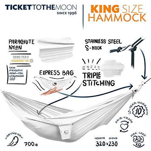 Ticket to the Moon Fair Trade & Handgemaakte 1-2-Persoons King Size-Lichtgewicht-Hangmat White Voor Op Reis, Kamperen En Alledaags Gebruik, XXL 3,2*2,3m, 700g, Uit Duurzaam Parachute Textiel Zijde Nylon, Opzet Tijd <1min., OEKO-TEX® 10J. Garantie