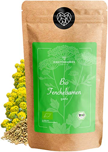 BIO Fenchelsamen - Fencheltee süß ganz - naturbelassen, als Tee oder Gewürz - Premium Tee-Qualität - per Hand geprüft und abgefüllt in Deutschland   80DEGREES