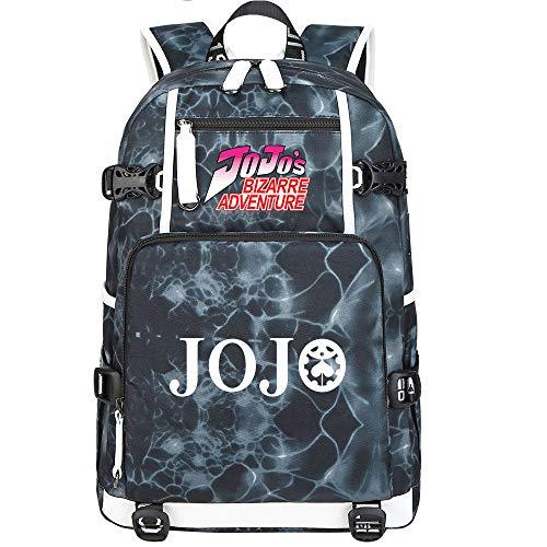 GOYING JoJo's Bizarre Adventure Jonathan Joestar/Joseph·Joestar Anime Backpack Middle Student School Rucksack Daypack for Women/Men with USB-G