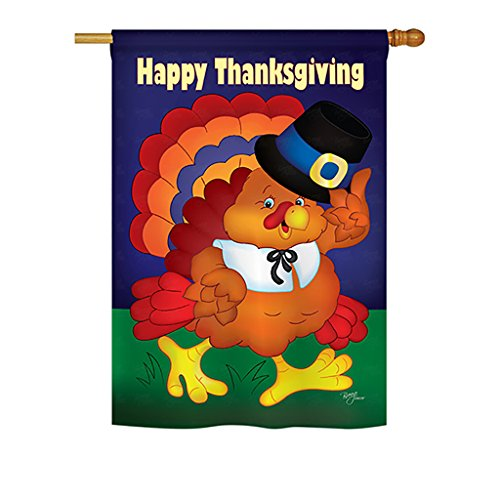 "Breeze Decor H113037 Happy Turkey Fall Thanksgiving Decorative Vertical House Flag, 28"" x 40"", Multi-Color"