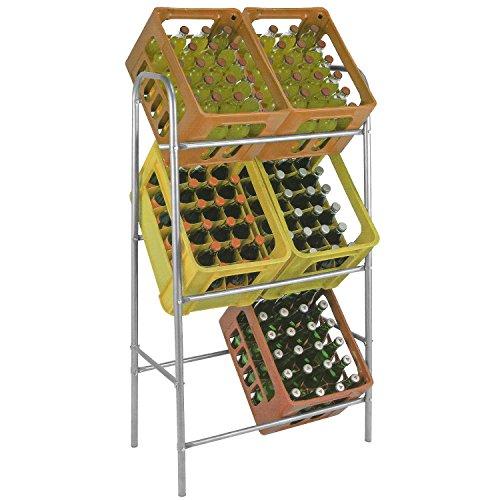 Kistenständer Kastenständer Flaschenkastenständer Flaschenkastenregal Getränkekistenständer Getränkeregal für 6 Kisten inkl. Wandhalterung Stahl