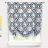 DriftAway Diamond Tie Up Curtain Blackout Room Darkening Thermal Insulated Adjustable Balloon Curtain Rod Pocket Single 45 Inch by 63 Inch Navy