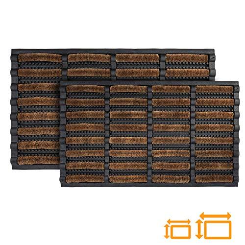 GadHome hochbeanspruchsbare Fußmatte, 45 x 75 cm | Matte aus Kokosfaser und Gummi für drinnen und draußen | rutschfeste und waschbare Schmutzfangmatte mit Wasserablauflöchern
