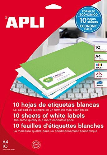 APLI 12925 - Etiquetas blancas permanentes 48,5 x 25,4 mm 10 hojas