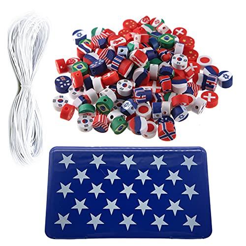 Kine Juego de 53 abalorios pastel, pulsera y 0,5 mm 2 m, elástico, color blanco y caja de almacenamiento de plástico para niños, niña, adultos, collar, joyas, teléfono o gafas, regalo