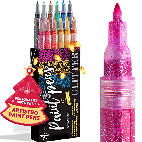 Glitterfärgpennor för stenmålning, småsten, klippbokstid
