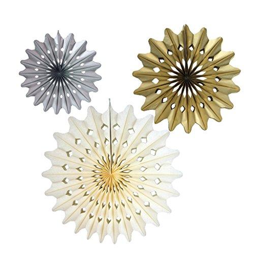 Blesiya 3 Stuks Goud Zilver Crème Sneeuwvlok Papier Pompons Bloemen Bal Decoratief Papier voor Verjaardag, Bruiloft, Babyshower, Feesten, Huisdecoraties, Fees