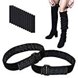 Wisdompro Boot Straps, 1 Pair Knee Boot Straps of Elastic Adjustable Belt, Plus Extra 12 Pcs Adhesive Tape Hook Sticker for Fall-Off Prevention