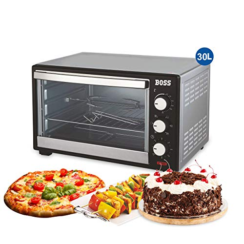 BOSS Desire 30L Oven Toaster Griller OTG, with Convection, 1600 W, 5 Heating/Cooking Functions, Black & Silver