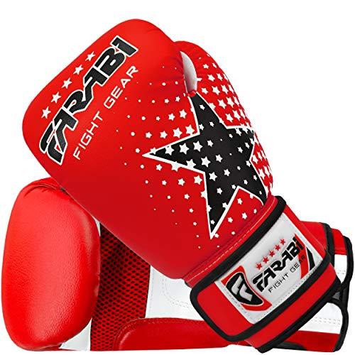 Farabi Guantes de boxeo Mitón de saco de boxeo para niños de entrenamiento de kickboxing para niños de 6 oz