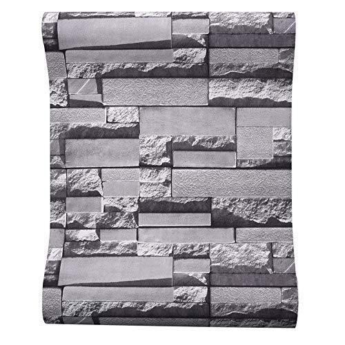 YAOHM Moderne Brique Stacked Papier Peint Pierre 3D Rouleau Fond Mur de Briques Grises pour Mur de Vinyle PVC Salon Look stéréoscopique Papier,Gris,10mx53cm