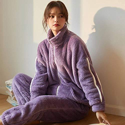 Conjunto De Pijamas Para Mujeres,Invierno Coral Polar Pijamas De Las Mujeres Conjuntos De Color Púrpura Oscuro Espesante Cálido Suave Franela Ropa De Casa Más Tamaño Ropa De Dormir Manga Larga Muj
