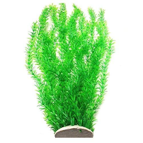 Lantian Planta de plástico para decoración de acuario, tamaño extragrande, 58 cm de alto, color verde