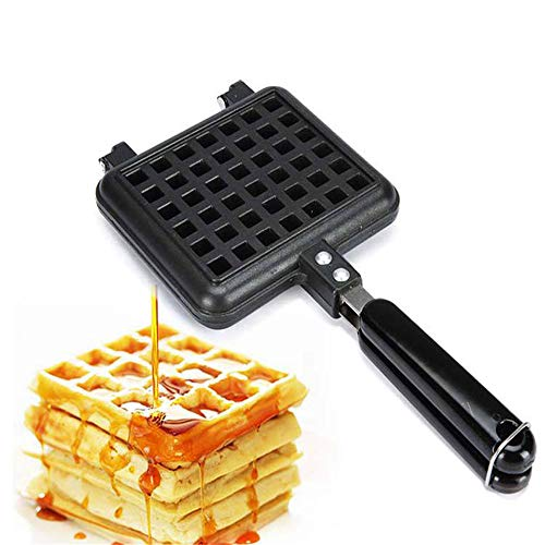 stovetop waffle pans 2 Waffle Iron Maker, VolksRose Premium Non-Stick DIY Aluminum Alloy Stovetop Sandwich Panini Cone Cake Mold Iron Cooking Pan Baking Tool Maker Press Plate With Handle Perfect for Kitchen and Outdoor