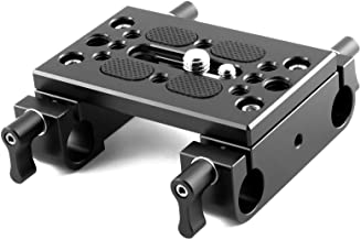 NICEYRIG Tripod Mounting Plate with 15mm Rod Clamp Railblock for Rod Support/DSLR Rig Cage