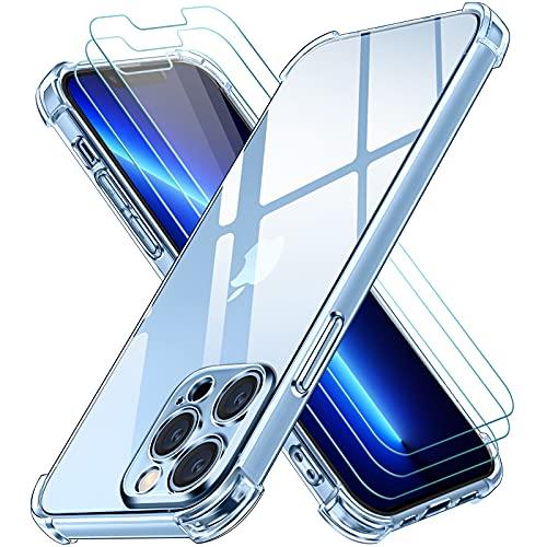 iVoler Cover Compatibile con iPhone 13 Pro Max con Protezione Della Fotocamera Antiurto Custodia con Paraurti in TPU Morbido e 3 Pellicola Vetro Temperato, Sottile Trasparente Silicone Protettiva Case