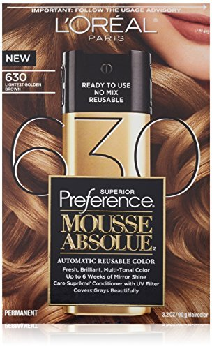 L'Oreal Paris Superior Preference Mousse Absolue Hair Color - 630 Lightest Golden Brown (Pack of 2)