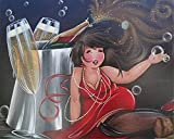 LKAZLL Oil Painting Kits DIY Paint by Numbers Adult Canvas Home Decoration Art Wall Gift Cartoon Champagne Girl 16x20 inch