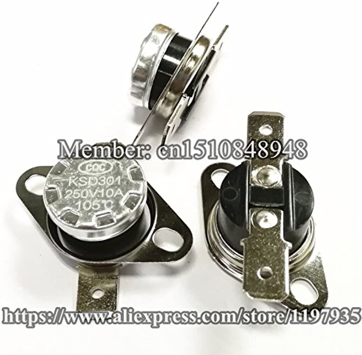KSD301 Thermostat Temperature Switch 105155 Degrees 250V 10A 105 110 115 120 125 130 135 140 145 150 155 Degrees