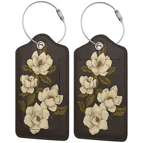 Beautiful Magnolias Luggage Tags Suitcase Labels Bag Travel Accessories Set of 2